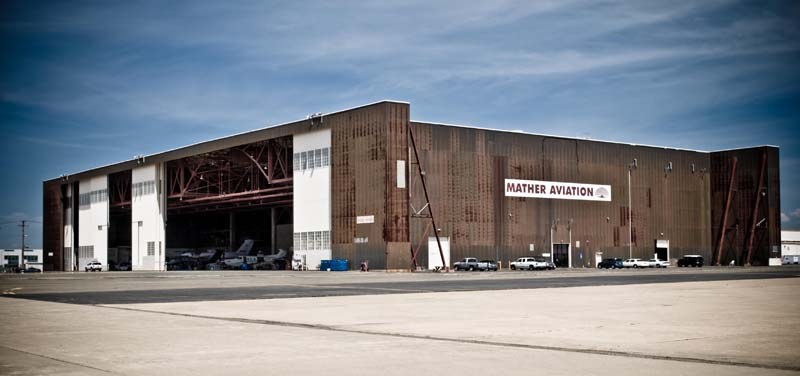 Mather Aviation Hangar Exterior